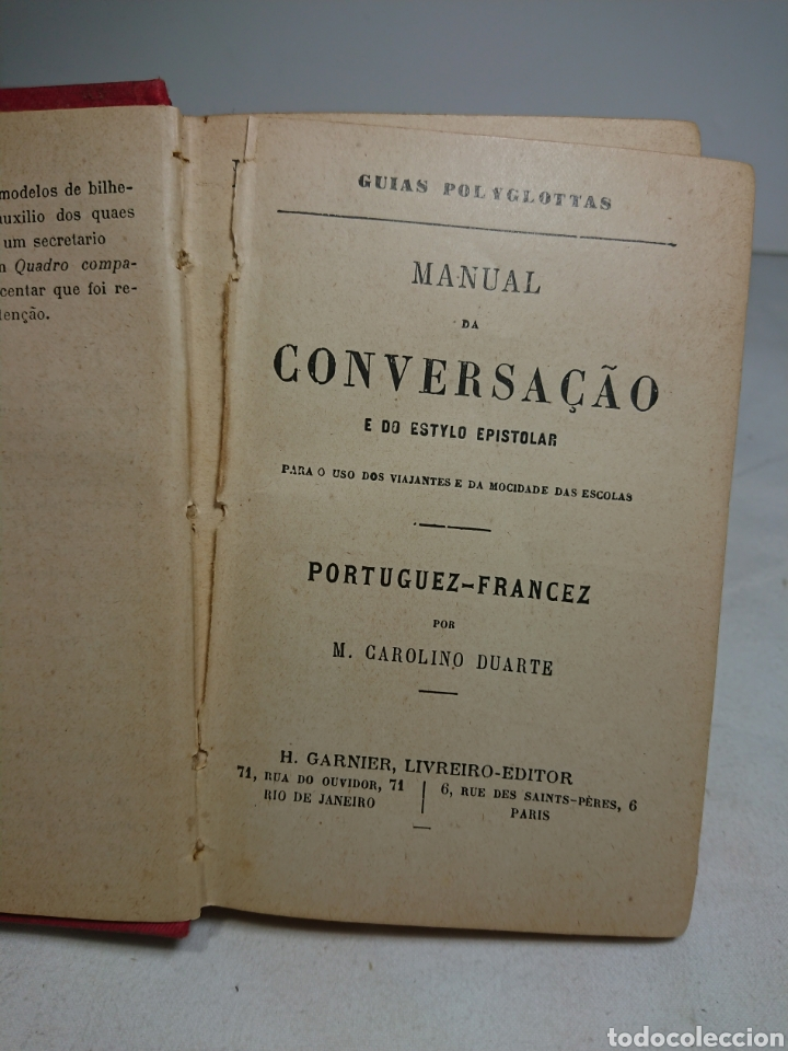 Libros antiguos: Manual da conversaçao, en Portugués y Francés - Foto 2 - 159804101