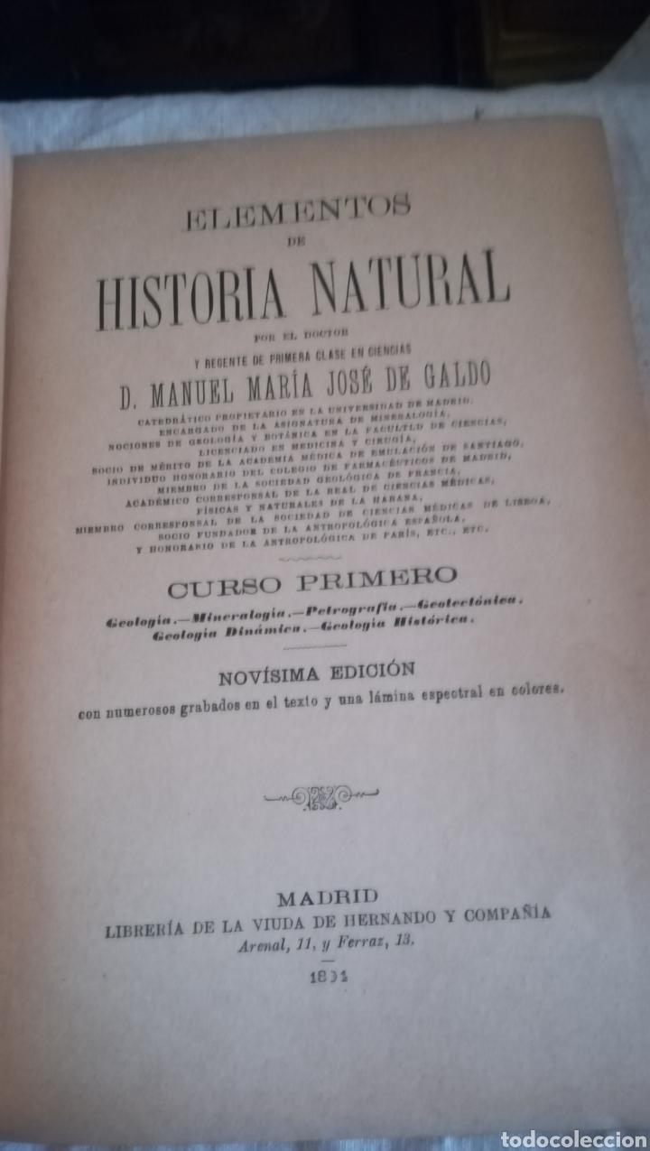 Libros antiguos: Historia Natural, Geología y Mineralogía de José de Galdo de 1894 - Foto 2 - 160253940