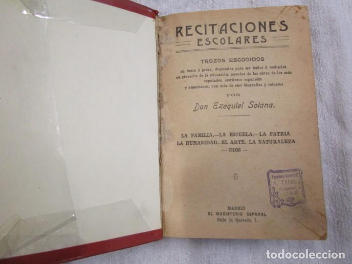 Libros antiguos: RECITACIONES ESCOLARES - EZEQUIEL SOLANA - MAGISTERIO ESPAÑOL S/F+ INFO Y FOTOS 1s - Foto 2 - 160645614