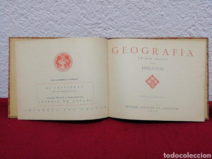Libros antiguos: geografía primer grado. Edelvives. Editorial Luís Vives. Barcelona 1935 - Foto 3 - 162917496