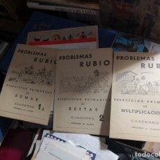 Libros antiguos: 3 CUADERNOS PROBLEMAS RUBIO. EJERCICIOS PRIMARIO DE SUMA, RESTAS Y DE MULTIPLICACIONES SIN USAR.. Lote 194548866
