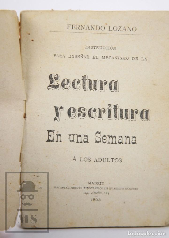 Libros antiguos: Antiguo Librito Lectura y Escritura en una Semana, Fernando Lozano - Evaristo Sánchez, 1893 - Foto 2 - 168668744