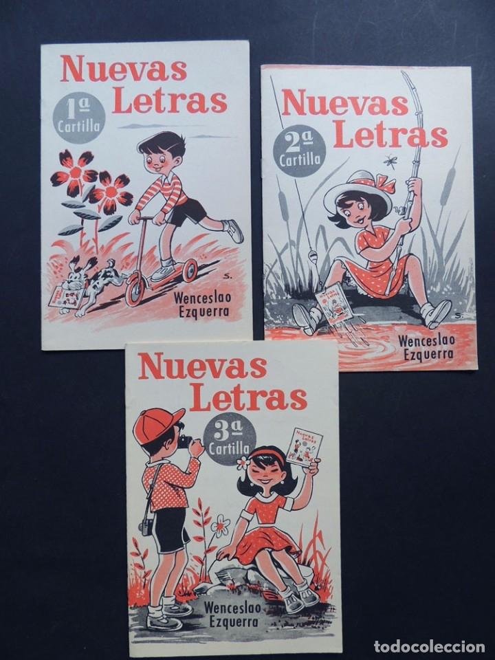 NUEVAS LETRAS Nº 1 - 2 - 3 / TRES CARTILLAS / WENCESLAO EZQUERRA 1968 / SIN USAR (Libros Antiguos, Raros y Curiosos - Libros de Texto y Escuela)