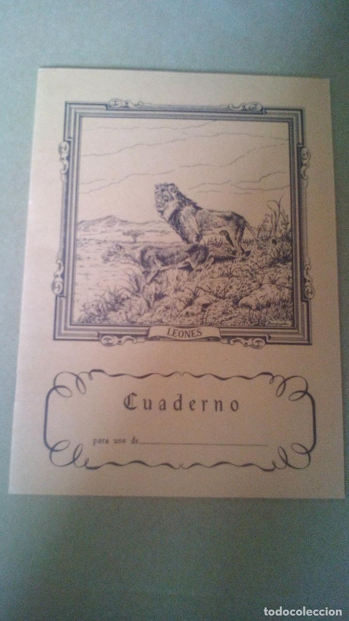 CUADERNO DE ESCUELA, PORTADA DE ANIMALES, LEONES - A ESTRENAR, PROCEDEN DE ANTIGUA PAPELERIA (Libros Antiguos, Raros y Curiosos - Libros de Texto y Escuela)