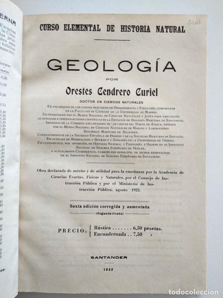 Libros antiguos: CURSO ELEMENTAL DE HISTORIA NATURAL - GEOLOGÍA - ORESTES CENDRERO CURIEL - SANTANDER 1932 - Foto 2 - 169750136