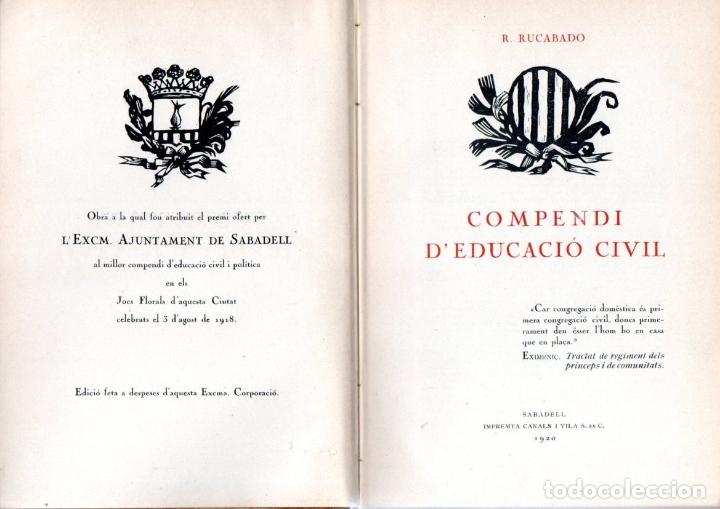 RUCABADO : COMPENDI D'EDUCACIÓ CIVIL (CANALS I VILA, 1920) EN CATALÀ (Libros Antiguos, Raros y Curiosos - Libros de Texto y Escuela)