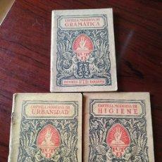 Libros antiguos: 3 X CARTILLA MODERNA DE URBANIDAD / DE HIGIENE / DE GRAMÁTICA (1929) --- EDITORIAL FTD BARCELONA. Lote 171686262