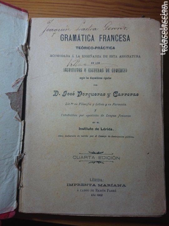Libros antiguos: Gramática Francesa, Jose Porqueras y Carreras, 1902 - Foto 2 - 173032169