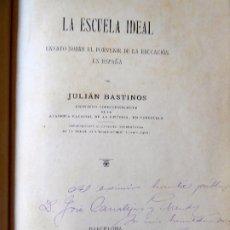 Libri antichi: L-5403. LA ESCUELA IDEAL. JULIÁN BASTINOS. BARCELONA 1901. CON FIRMA Y DEDICATORIA DEL AUTOR.. Lote 173672050