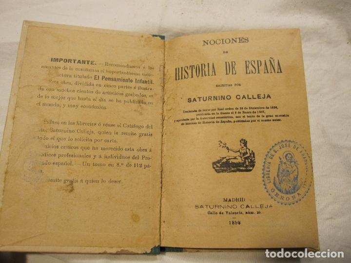 Libros antiguos: NOCIONES DE HISTORIA DE ESPAÑA CALLEJA, SATURNINO. MADRID 1898 - Foto 2 - 183460701