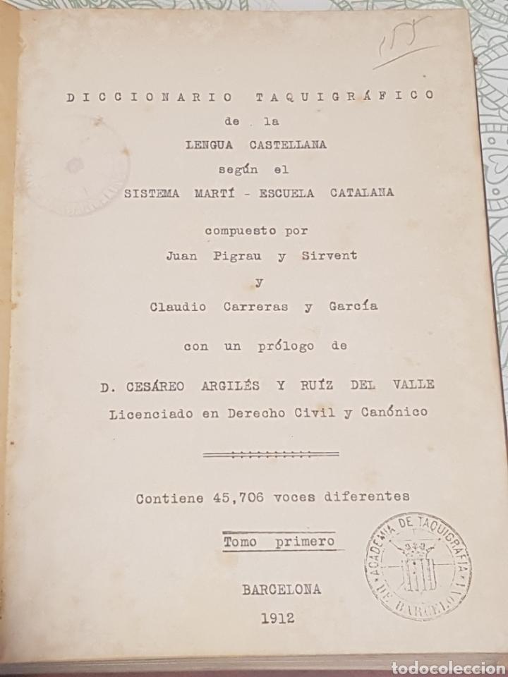 DICCIONARIO TAQUIGRAFICO DE LA LENGUA CASTELLANA SISTEMA MARTI-ESCUELA CATALANA BARCELONA 1912 (Libros Antiguos, Raros y Curiosos - Libros de Texto y Escuela)