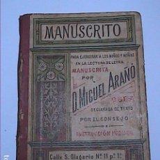 Livros antigos: MANUSCRITO. D.MIGUEL ARAÑO. 1920. PARA EJERCITAR LA LECTURA DE LETRA MANUSCRITA PARA NIÑOS.. Lote 190572548