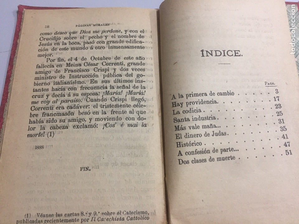 Libros antiguos: Páginas Morales por D. Jose Miralles 1891 - Foto 4 - 191955428