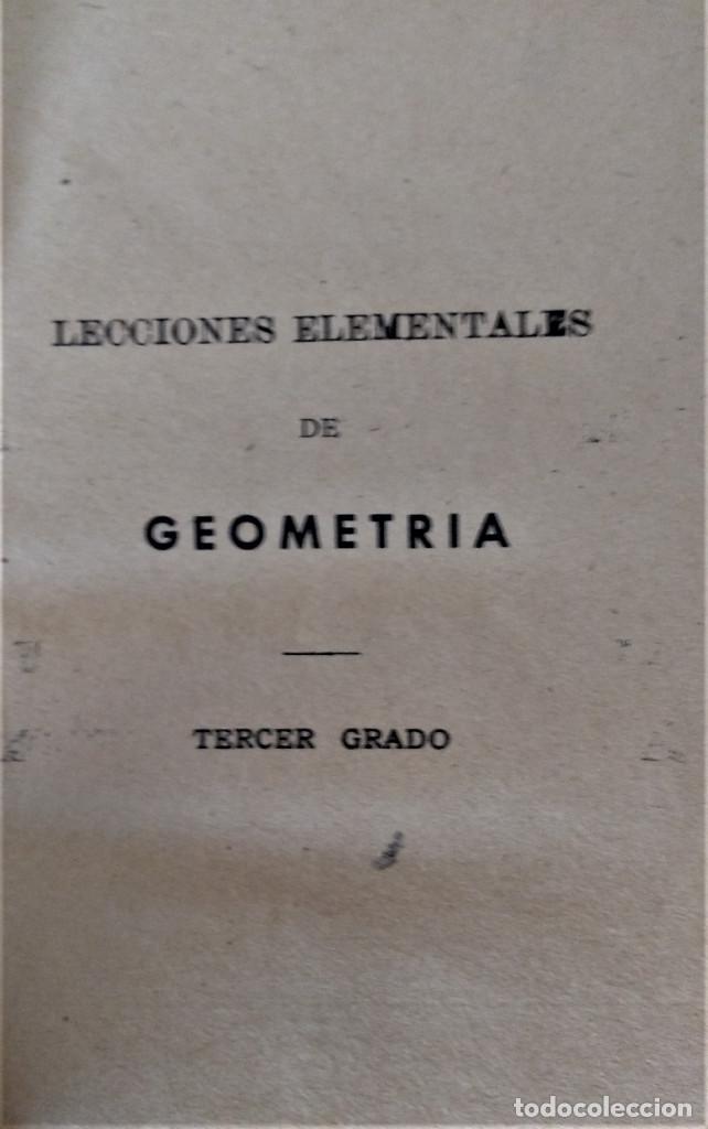 Libros antiguos: LECCIONES ELEMENTALES DE GEOMETRIA - TERCER GRADO - EDICIONES BRUÑO - Foto 3 - 194508531