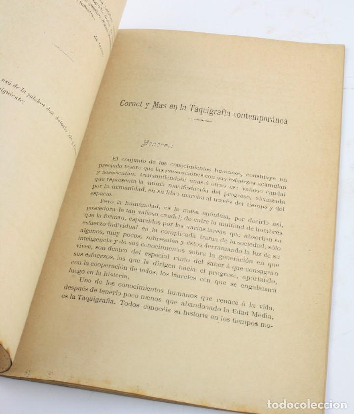 Libros antiguos: Sesión necrológica con motivo de la colocación del retrato de Cayetano Cornet Mas, 1898, taquigrafía - Foto 3 - 195383957