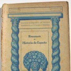 Libros antiguos: RESUMEN DE HISTORIA DE ESPAÑA. Lote 200356675