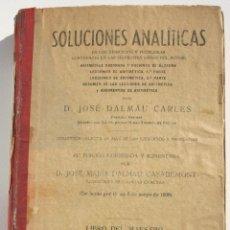 Libros antiguos: SOLUCIONES ANALITICAS - DALMAU CARLES J. Lote 200360300