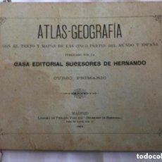 Libros antiguos: ATLAS-GEOGRAFIA CON EL TEXTO Y MAPAS DE LAS CINCO PARTES DEL MUNDO Y ESPAÑA - 1902 -41P.+8 LAMINAS+. Lote 208575032