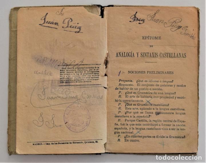 Libros antiguos: EPÍTOME DE ANALOGÍA Y SINTAXIS DE GRAMÁTICA CASTELLANA PARA LA PRIMERA ENSEÑANZA - MADRID 1912 - Foto 5 - 209041846