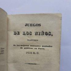 Libros antiguos: LIBRO , JUEGO DE LOS NIÑOS AÑO 1847, COMPLETO Y BUEN ESTADO. Lote 218648378