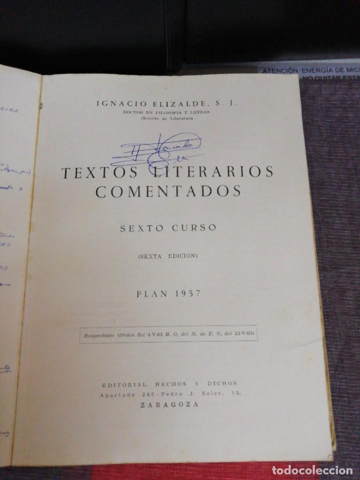 Libros antiguos: Textos literarios comentados Sexto curso Plan 1957 Zaragoza - Foto 2 - 221894052