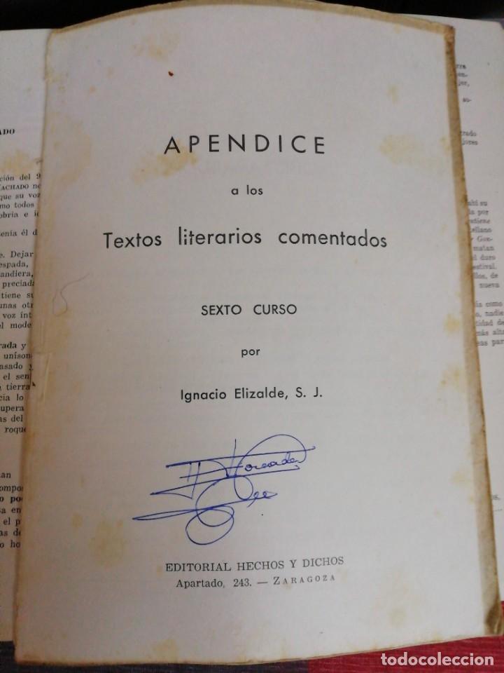 Libros antiguos: Textos literarios comentados Sexto curso Plan 1957 Zaragoza - Foto 4 - 221894052