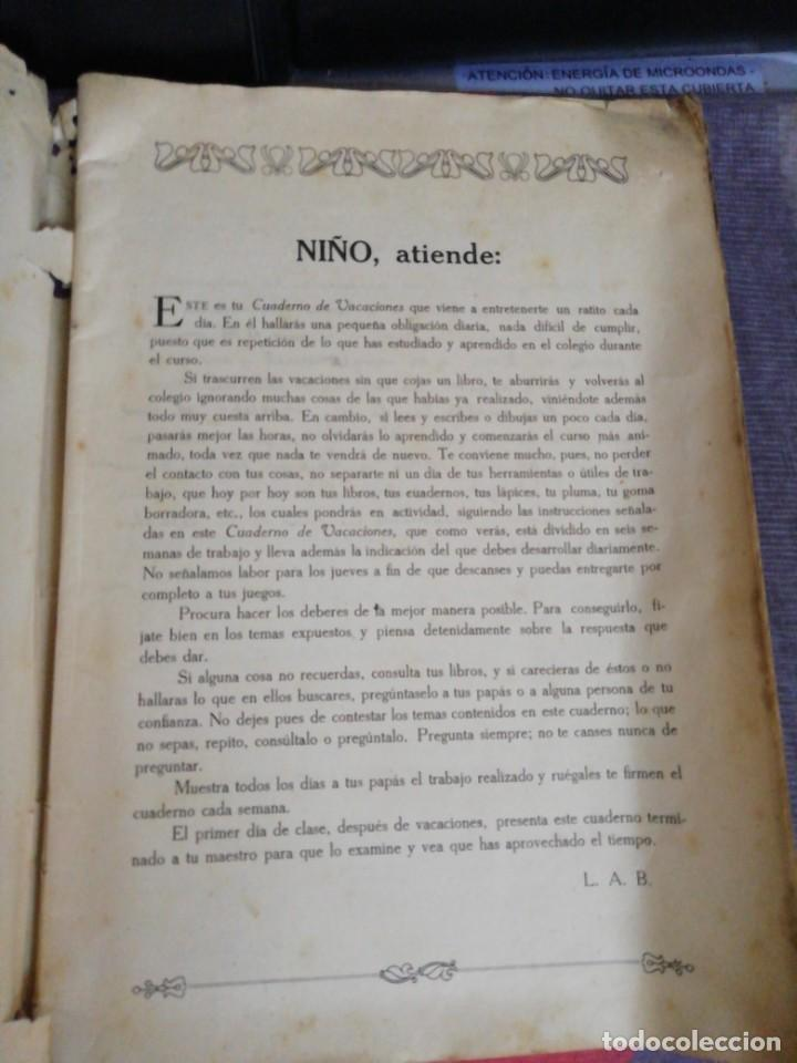 Libros antiguos: Cuaderno de Vacaciones en tres grados /Grado tercero /Luis Alabart Ballesteros 1927 - Foto 3 - 221992225