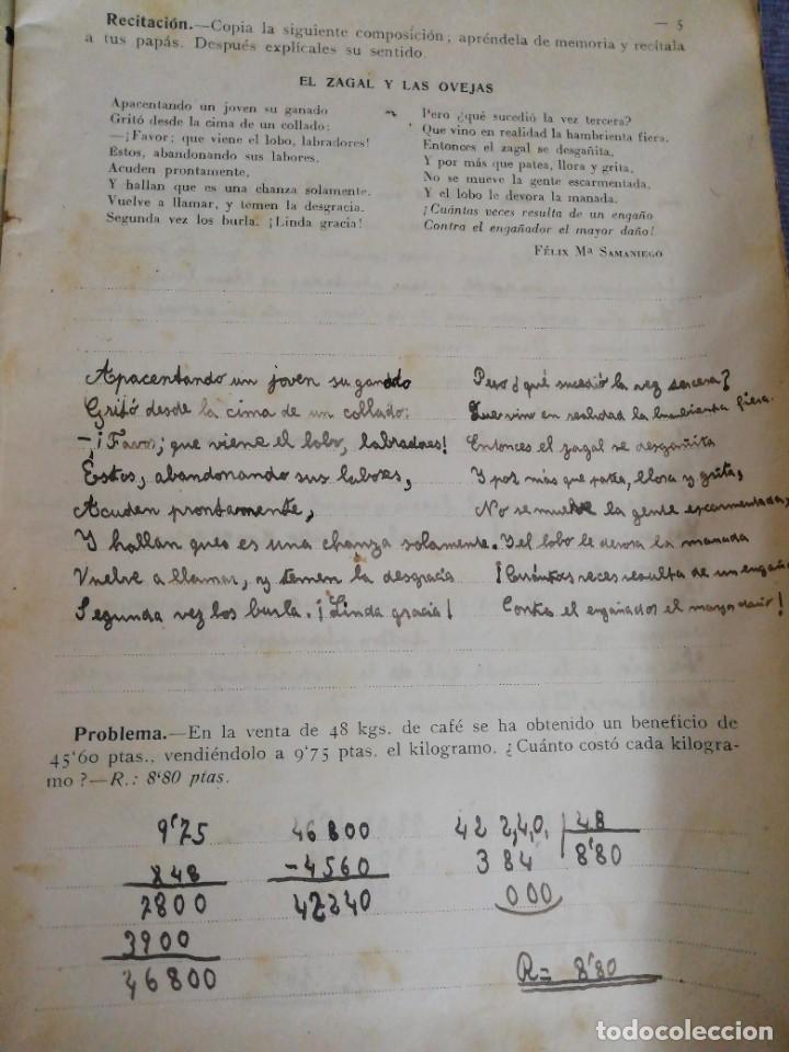 Libros antiguos: Cuaderno de Vacaciones en tres grados /Grado tercero /Luis Alabart Ballesteros 1927 - Foto 4 - 221992225