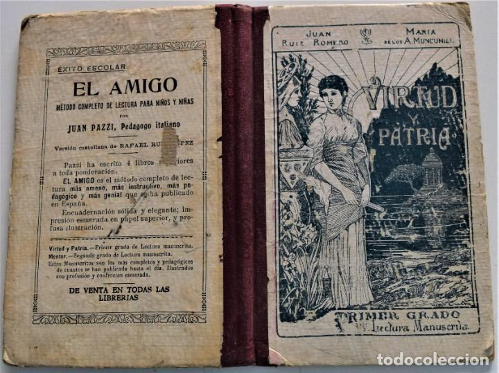 Libros antiguos: VIRTUD Y PATRIA, PRIMER GRADO LECTURAS MANUSCRITAS - JUAN RUIZ ROMERO - ZARAGOZA, BARCELONA 1931 - Foto 2 - 224114801