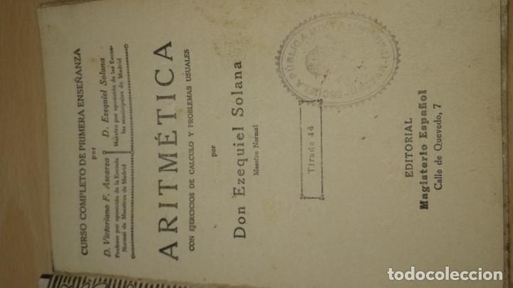 Libros antiguos: ARITMETICA / EZEQUIEL SOLANA / 1932 EL MAGISTERIO ESPAÑOL / S+206 - Foto 4 - 226131955