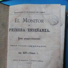 Libros antiguos: EL MONITOR DE PRIMERA ENSEÑANZA - 1884. Lote 235976775