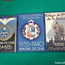 Libros antiguos: 3 MEMORIAS ESCOLARES DEL COLEGIO DE NTRA. SRA. DE LA BONANOVA. AÑOS 34-35, 35-40 Y 40-41. TAPA DURA.. Lote 237494125