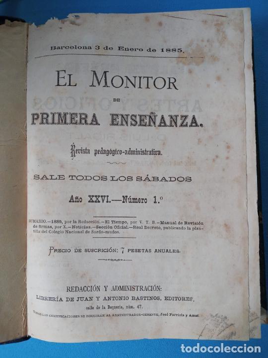 EL MONITOR DE PRIMERA ENSEÑANZA - BARCELONA 1885 (Libros Antiguos, Raros y Curiosos - Libros de Texto y Escuela)