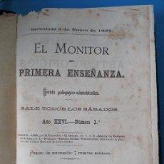 Libros antiguos: EL MONITOR DE PRIMERA ENSEÑANZA - BARCELONA 1885. Lote 238081690