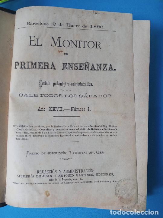 EL MONITOR DE PRIMERA ENSEÑANZA - BARCELONA 1886 (Libros Antiguos, Raros y Curiosos - Libros de Texto y Escuela)