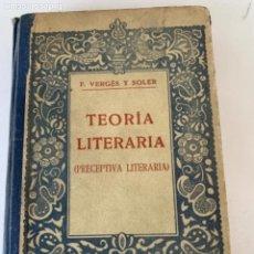 Libros antiguos: TEORÍA LITERARIA, PRECEPTIVA LITERARIA , (BOLS, 3). Lote 242303030