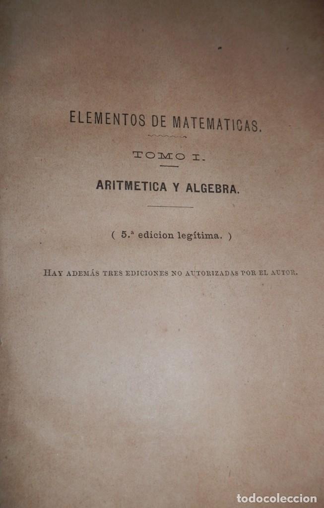 Libros antiguos: ANTIGUO LIBRO DE ARITMÉTICA Y ALGEBRA - 1889 - Foto 4 - 243219260