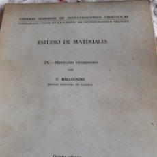Libros antiguos: ESTUDIO DE LOS MATERIALES. Lote 246087880