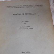 Libros antiguos: ESTUDIO DE LOS MATERIALES. Lote 246088415