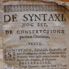 Livros antigos: DE SYNTAXI LIBELLUS, JUAN TORRELLA?, SIGLO XVIII. Lote 247646930