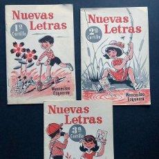 Livres anciens: NUEVAS LETRAS Nº 1 - 2 - 3 / TRES CARTILLAS / WENCESLAO EZQUERRA 1968 / SIN USAR. Lote 250176650