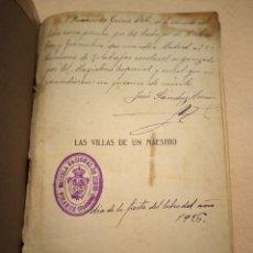 Livros antigos: LAS VILLAS DE UN MAESTRO JUAN M. BORRAS PARQUE ESCUELA VINAROZ CASTELLÓN. Lote 255001290