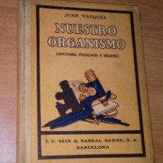 Livros antigos: JUAN VÁZQUEZ - NUESTRO ORGANISMO (ANATOMÍA, FISIOLOGÍA E HIGIENE) - I. G. SEIX & BARRAL HERMS. 1922. Lote 255450165