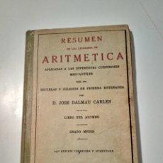 Libros antiguos: RESUMEN DE LAS LECCIONES DE ARITMETICA. DALMAU .1936.. Lote 262842420