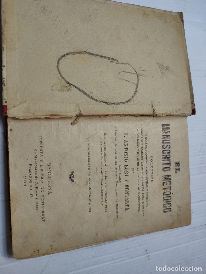 Libros antiguos: Libro -El Manuscrito Metódico- D.Antonio Bori y Fontesta 1914 Librería Monserrat - Foto 2 - 276176353
