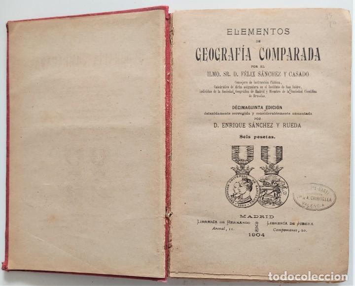 Libros antiguos: ELEMENTOS DE GEOGRAFÍA COMPARADA - ENRIQUE SÁNCHEZ Y RUEDA - LIBRERÍA HERNANDO, MADRID 1904 - Foto 4 - 276911428