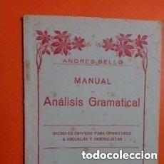 Libros antiguos: 1° EDIC. 1931 MANUAL ANALISIS GRAMATICAL HECHO EX PROFESO PARA OPOSITORES ESCUELAS Y NORMALISTAS. Lote 287385698