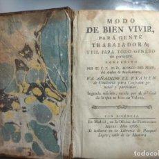 Libros antiguos: LIBRO ANTIGUO MODO DEL BUEN VIVIR. Lote 294040788