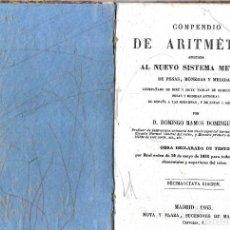 Libros antiguos: COMPENDIO DE ARITMÉTICA APLICADA AL NUEVO SISTEMA MÉTRICO -- EDITADO EN 1863. Lote 295733018