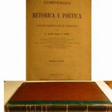 Libros antiguos: COMPENDIO DE RETORICA Y POETICA - 1886 -. Lote 100988